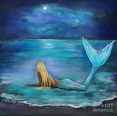 Painting - Mermaid Stars And Moon by Leslie Allen