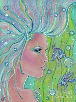 Mermaid Drawing - Mermaid Warrior by Renee Lavoie