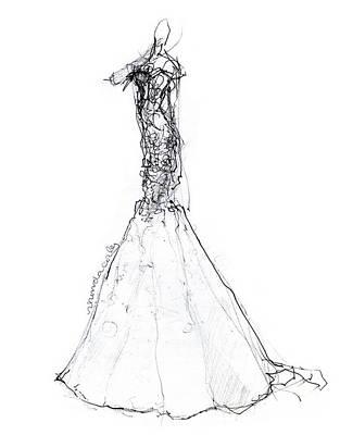 Wedding Dress Drawing - Mermaid Wedding Dress by Rhonda Corley
