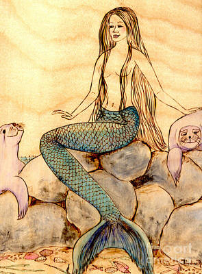 Woodburning Painting - Mermaid With Seals by Pauline Ross