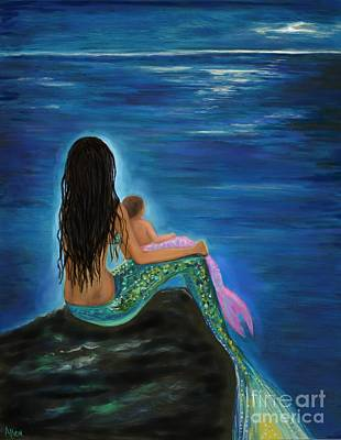 Painting - Mermaids Baby Girl by Leslie Allen