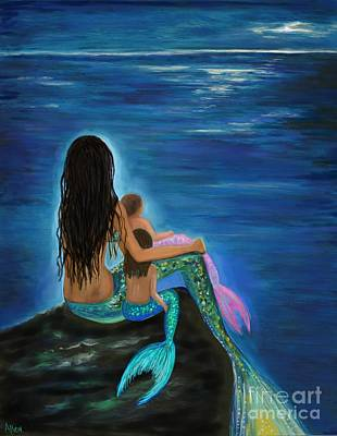 Painting - Mermaids Baby Girls by Leslie Allen
