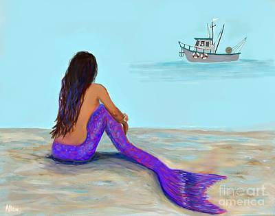 Painting - Mermaids Captain by Leslie Allen
