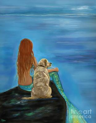 Painting - Mermaids Loyal Friend by Leslie Allen