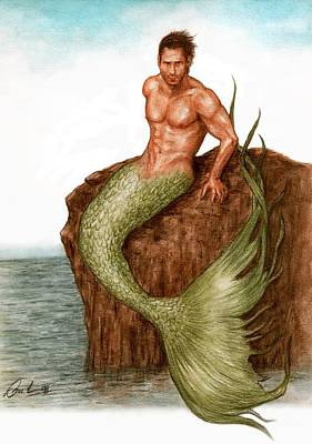 Extinct And Mythical Drawing - Merman On The Rocks by Bruce Lennon