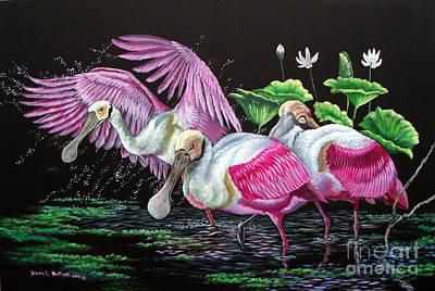 Merritt Island- Roseate Spoonbills Original by Daniel Butler