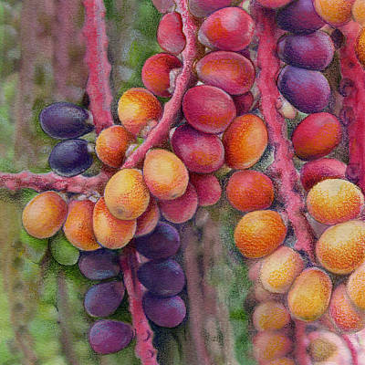 Nature Abstract Drawing - Merry Berries by Mindy Lighthipe