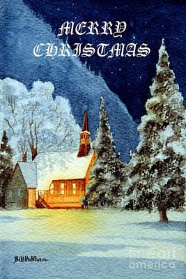 El Capitan Painting - Merry Christmas Card Yosemite Valley Chapel by Bill Holkham