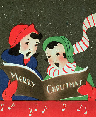 Singer Drawing - Merry Christmas   Christmas Card by English School