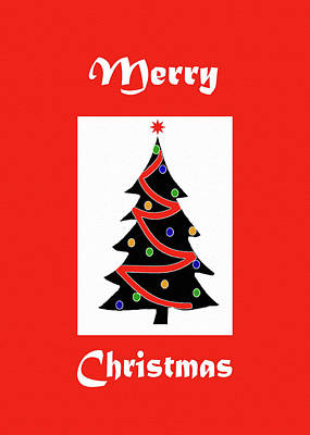 Merry Christmas Tree-greeting Card Print by Kat Solinsky