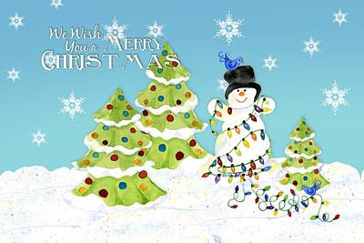 Merry Christmas Typography Snowman W Christmas Trees N Blue Birds Print by Audrey Jeanne Roberts