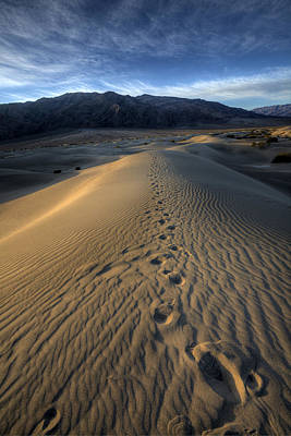 Mesquite Flats Footsteps Print by Peter Tellone