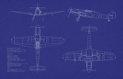Blueprint Digital Art - Messerschmitt Me109 by Michael Tompsett