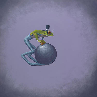 Frogs Painting - Metal Ball by Jasper Oostland