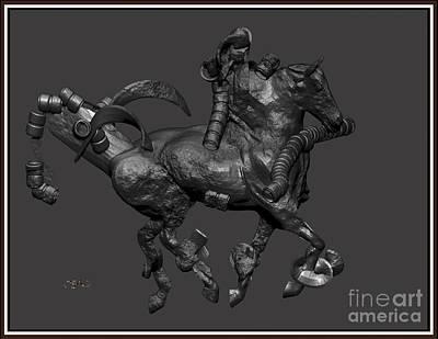 metal horse statue 11MHS1 Print by Pemaro