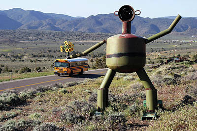 Metal Man And School Bus Print by Day Williams