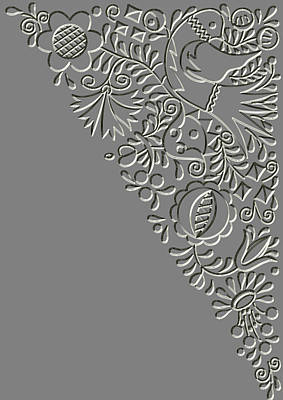 Metal Relief Moravian Folk Ornament Print by Miroslav Nemecek