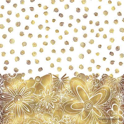 Flowers Painting - Metallic Gold Floral Flower Swirls Trendy Unique Art By Madart by Megan Duncanson