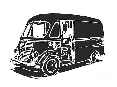 Classic Truck Drawing - Metro Step Van Tee by Edward Fielding