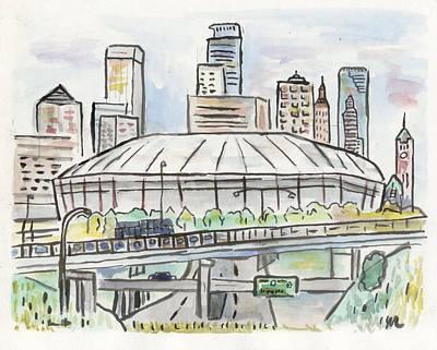 Minnesota Painting - Metrodome by Matt Gaudian