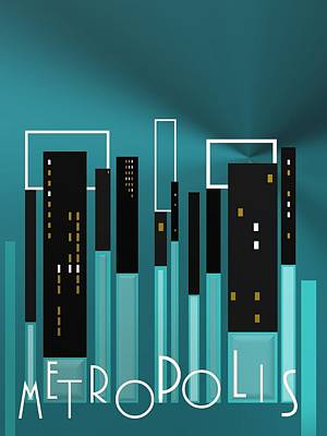 Typography Digital Art - Metropolis In Blue by Alberto RuiZ