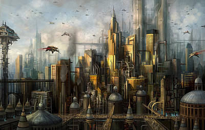 Science Fiction Mixed Media - Metropolis by Philip Straub