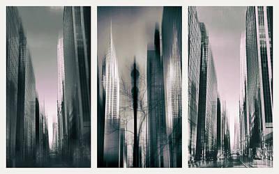 Chrysler Building Digital Art - Metropolis Triptych II by Jessica Jenney