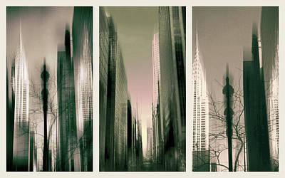 Chrysler Building Digital Art - Metropolis Triptych by Jessica Jenney