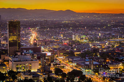 Twilight Views Photograph - Mexico City Sunset by Inge Johnsson