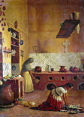 Tortillas Photograph - Mexico: Kitchen, C1850 by Granger