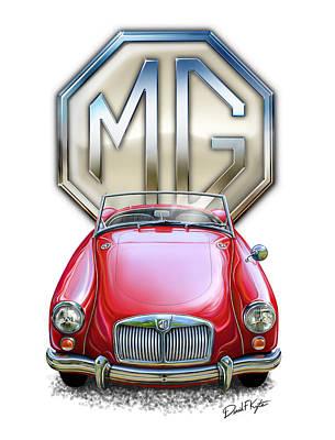 English Digital Art - Mga Sports Car In Red by David Kyte