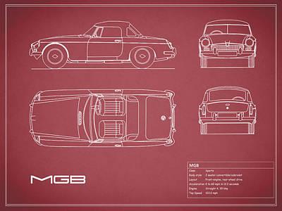 Mgb Blueprint - Red Print by Mark Rogan