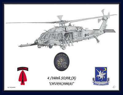 Helicopter Drawing - Mh60 Blue Border by Nicholas Linehan