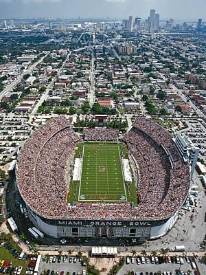 Miami Aerial Of Orange Bowl Stadium Print by Scott B Smith Photography