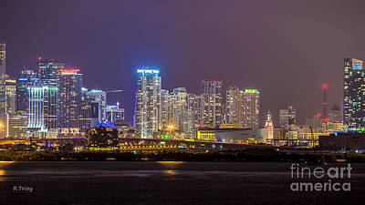Miami After Dark Skyline Bay View Original by Rene Triay Photography