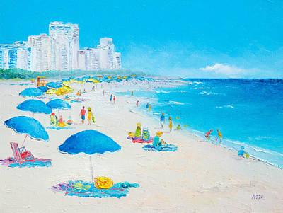 Miami Beach Umbrellas Print by Jan Matson