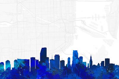 Splatter Digital Art - Miami Cityscape And Streetmap Blue Skyline by Jurq Studio