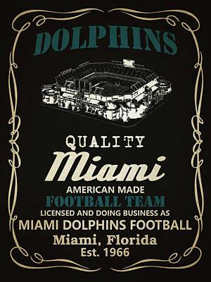 Dolphin Mixed Media - Miami Dolphins Whiskey by Joe Hamilton