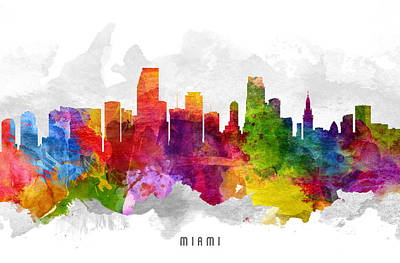 Miami Skyline Painting - Miami Florida Cityscape 13 by Aged Pixel