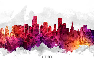 Miami Skyline Painting - Miami Florida Cityscape 14 by Aged Pixel