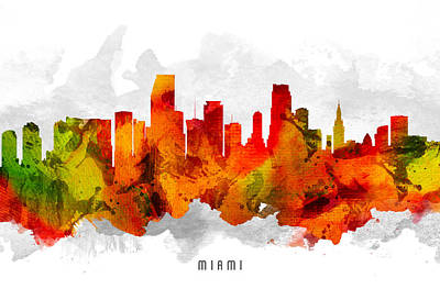 Miami Skyline Painting - Miami Florida Cityscape 15 by Aged Pixel