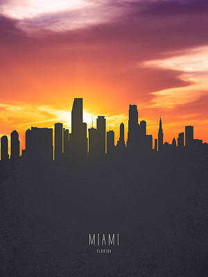 Miami Skyline Painting - Miami Florida Sunset Skyline 01 by Aged Pixel