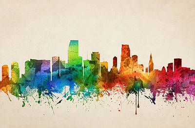 Miami Skyline Painting - Miami Florida Skyline 05 by Aged Pixel