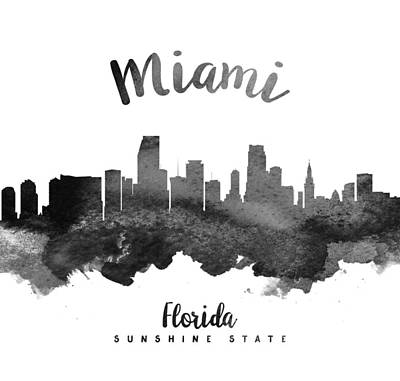 Miami Skyline Painting - Miami Florida Skyline 18 by Aged Pixel