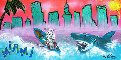 Shark Painting - Miami by Laura Barbosa