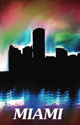Miami Skyline Mixed Media - Miami Skyline  by Enki Art