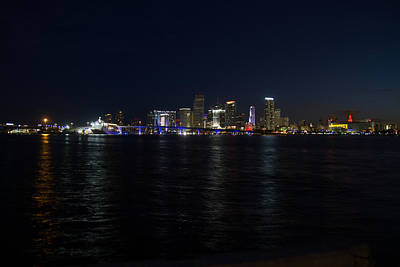 Blue Digital Art - Cityscape - Miami Skyline Left by J Darrell Hutto