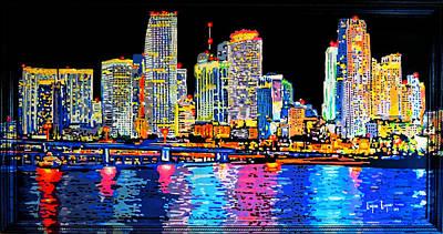 Miami Skyline Original by Luque Luque