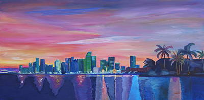 Miami Skyline Painting - Miami Skyline Silhouette At Sunset In Florida by M Bleichner