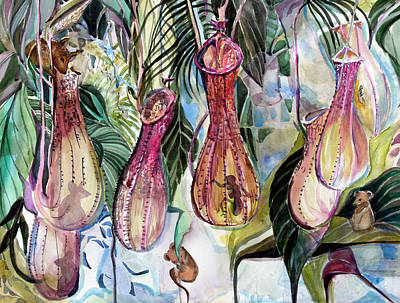 Mouse Mixed Media - Mice In The Pitchers by Mindy Newman